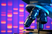Close up of laboratory microscope